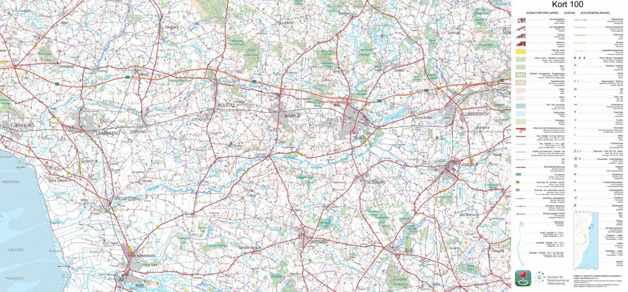 Rodding 1 100 000 Scale Kortforsyningen Avenza Maps