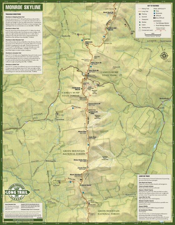 Monroe Skyline Hiking Trail Map - Green Mountain Club - Avenza Maps
