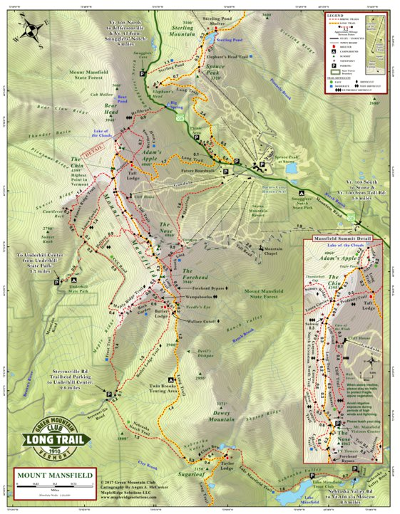 Mount Mansfield Hiking Trail Map 4th Edition - Green Mountain Club ...