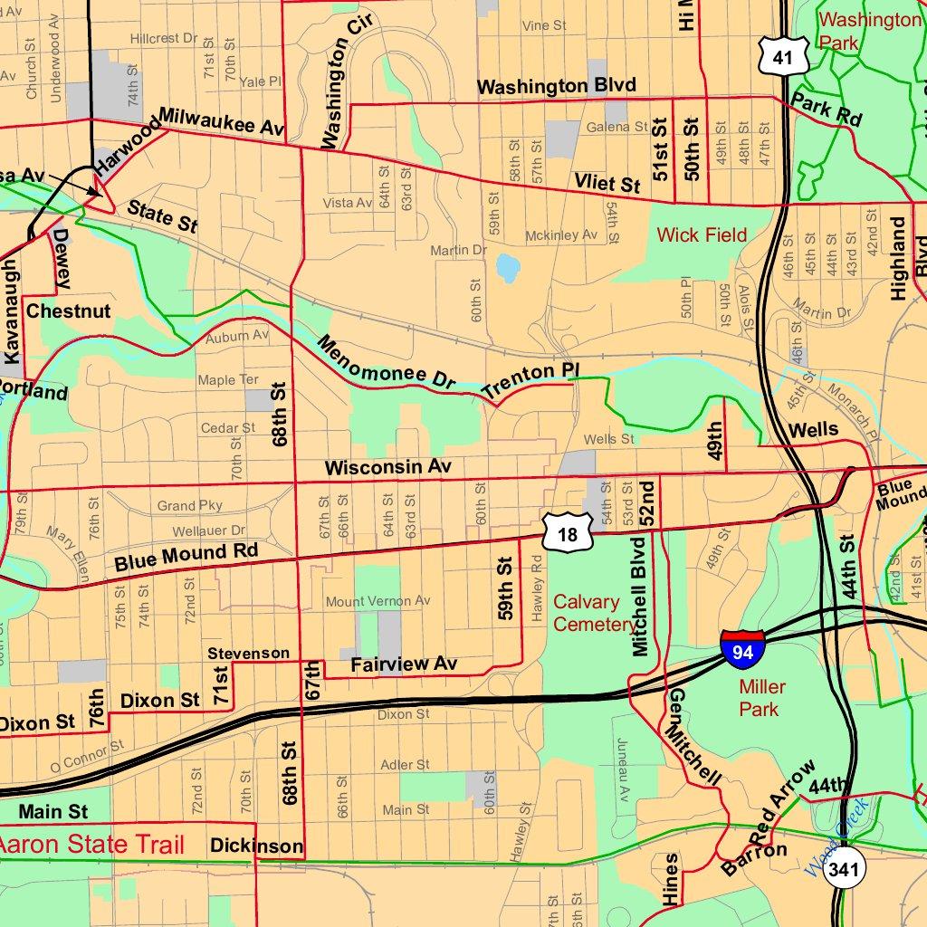 2016 Milwaukee and SE Wisconsin Bike Map Bikeverywhere Avenza Maps