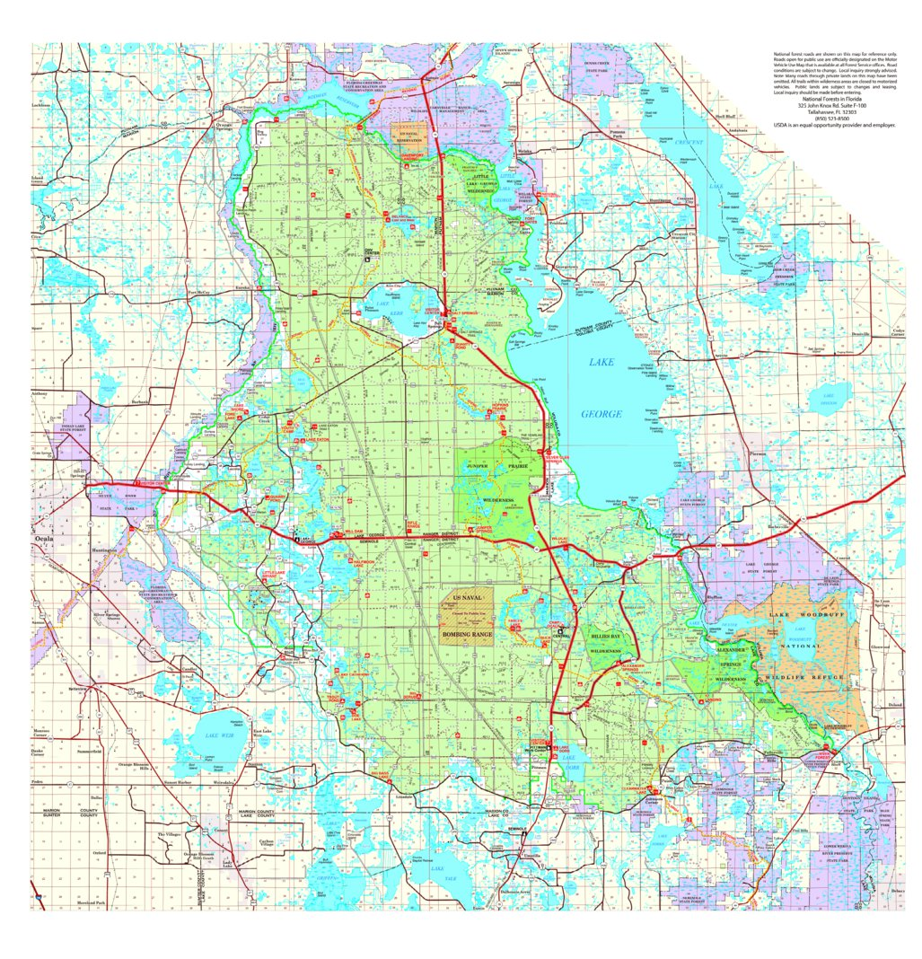 Ocala National Forest Visitor Map US Forest Service R8 Avenza Maps