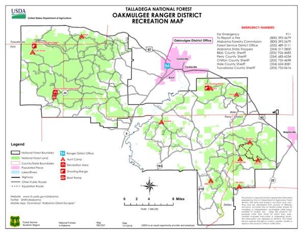 Talladega National Forest Map Talladega National Forest, Oakmulgee Ranger District Recreation  Talladega National Forest Map