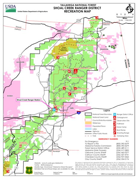 Talladega National Forest Map Talladega National Forest, Shoal Creek Ranger District Recreation  Talladega National Forest Map