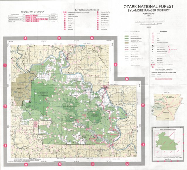 Ozark National Forest Sylamore District US Forest Service R - Arkansas land ownership maps