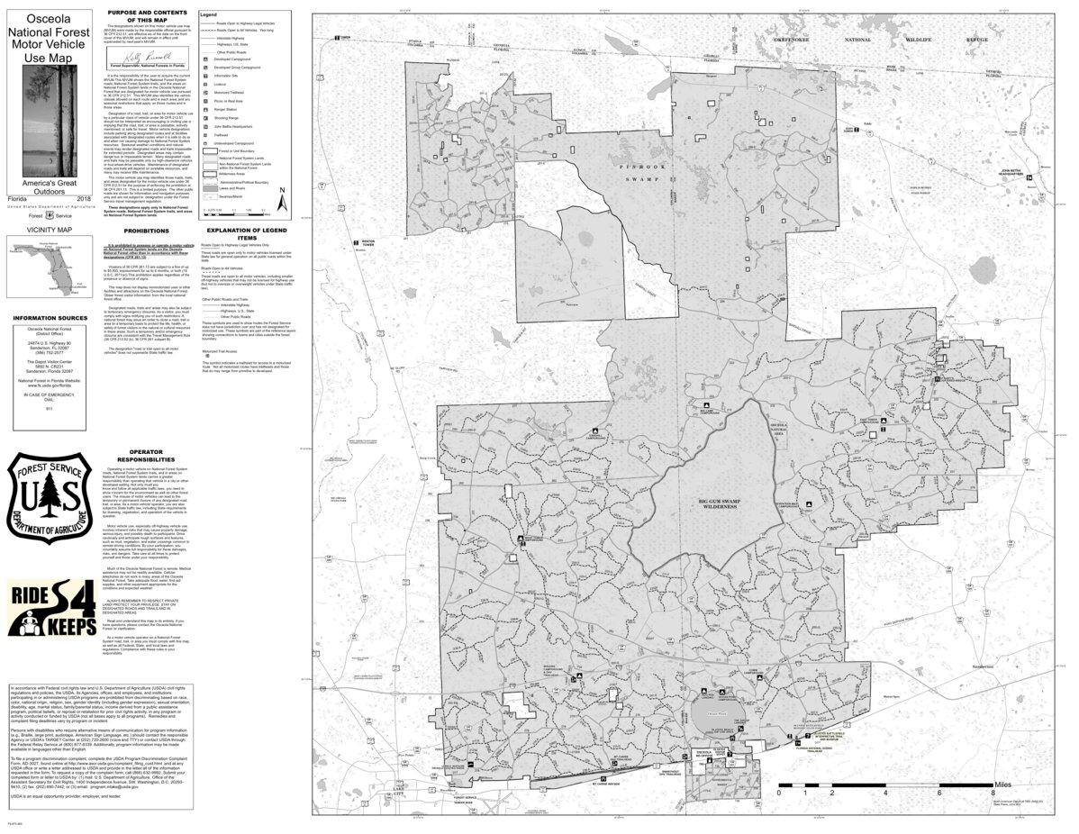 Motor Vehicle Use Map, MVUM, Osceola National Forest - US ...
