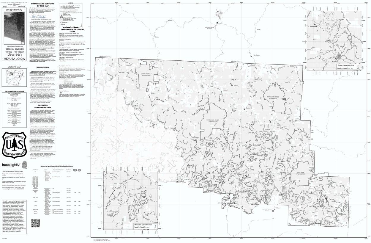 Motor Vehicle Use Map, MVUM, Big Piney District, Ozark-St. Francis ...