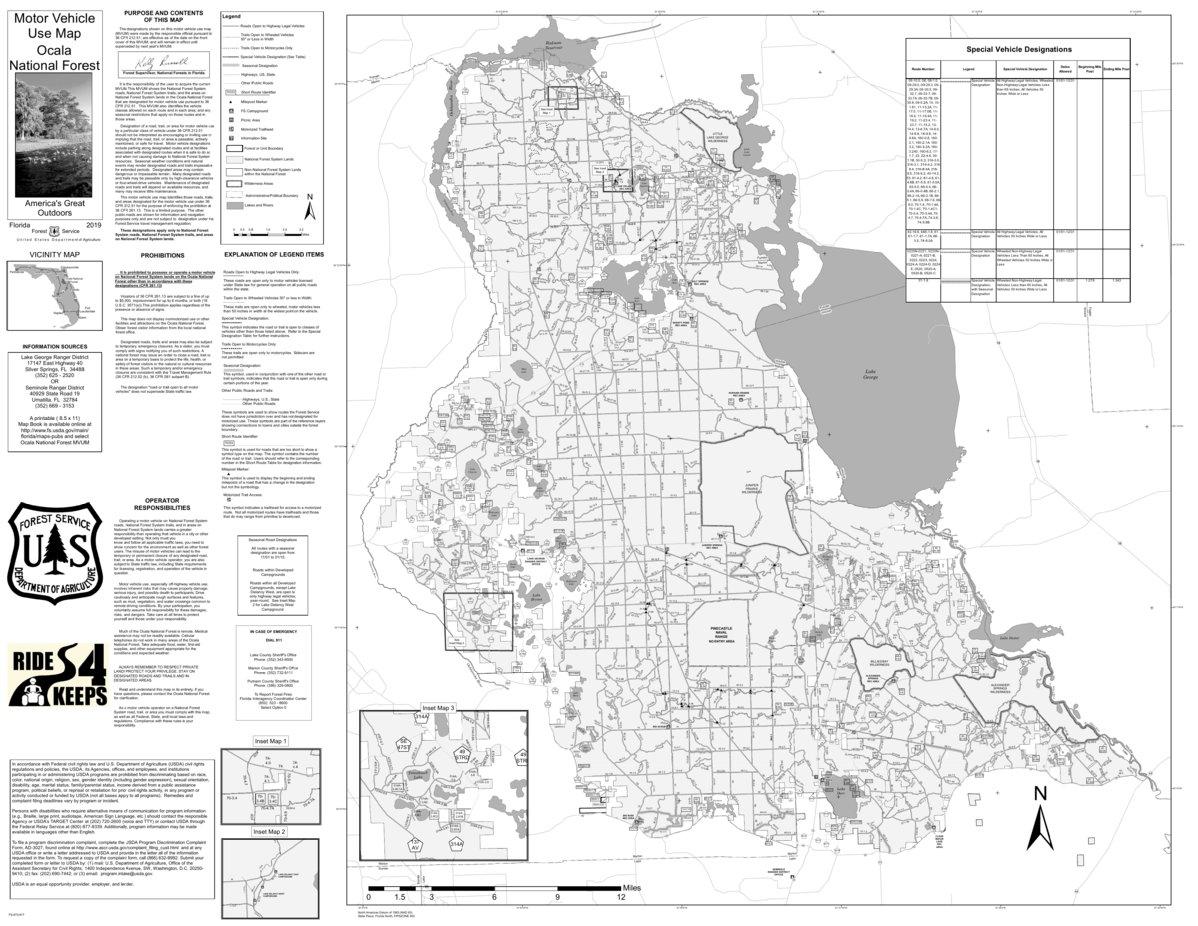 Ocala National Forest Map Motor Vehicle Use Map, MVUM, Ocala National Forest   US Forest