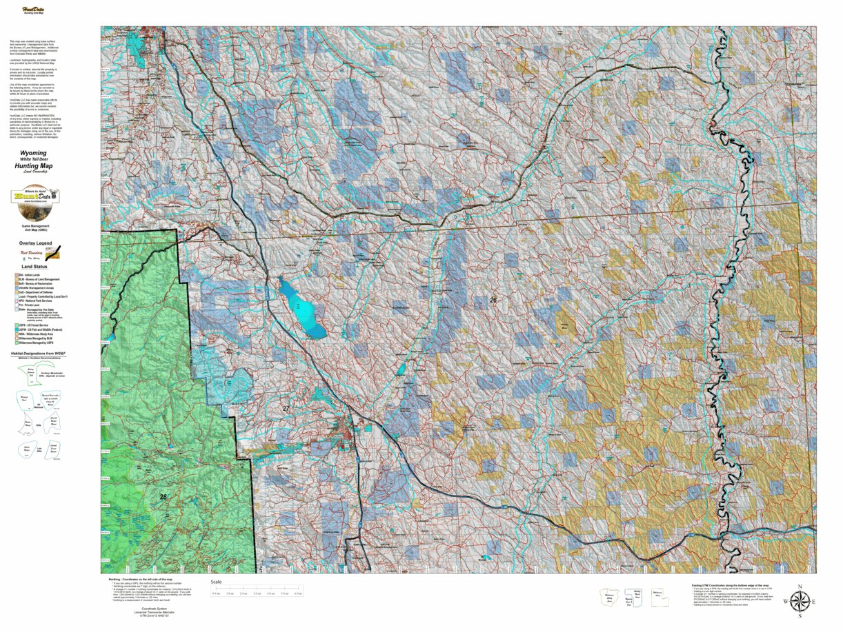 Wy White Tail Deer 25 Hybrid Hunting Map - Wyoming HuntData ...