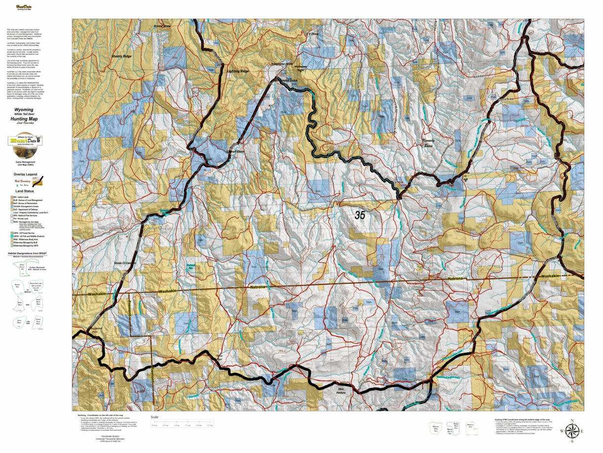 Wy White Tail Deer 34 Hybrid Hunting Map - Wyoming HuntData ...