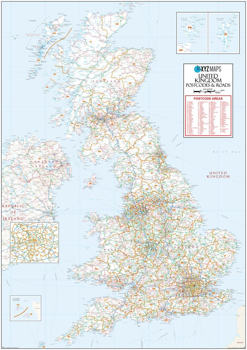 Map Of Uk Roads.Xyz Uk Postcode Areas Roads Ar5 Xyz Maps Avenza Maps