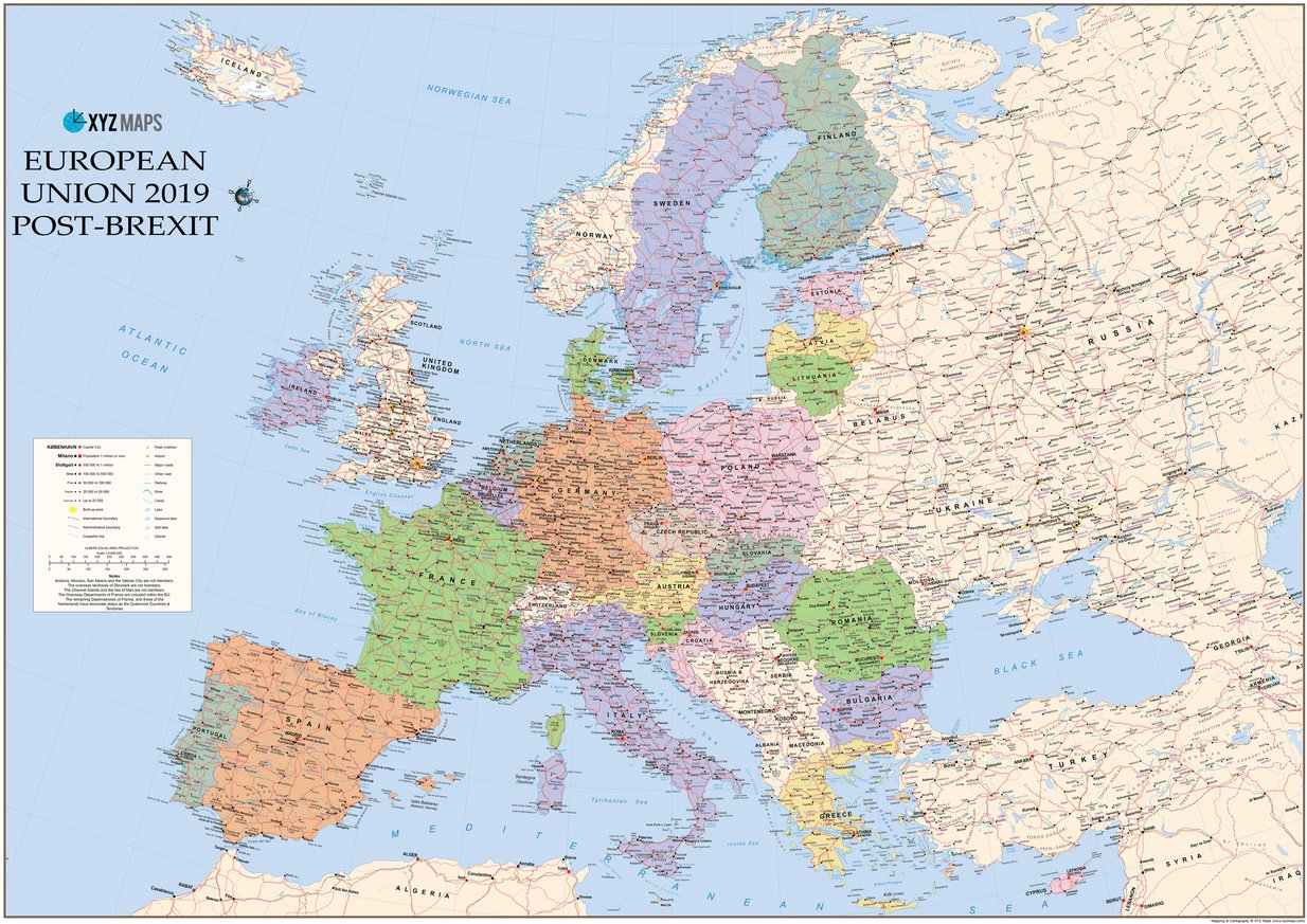 European Union 2019 Post-Brexit iMap - XYZ Maps - Avenza Maps