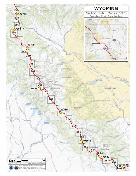 CDT Map Set - Wyoming - Continental Divide Trail Coalition ... Contenintal Divide Detailed Map Of Wyoming on