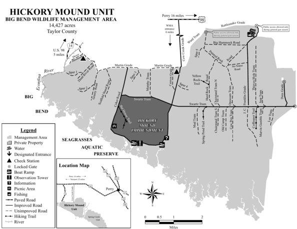 Big Bend WMA - Hickory Mound Unit Brochure Map - Florida