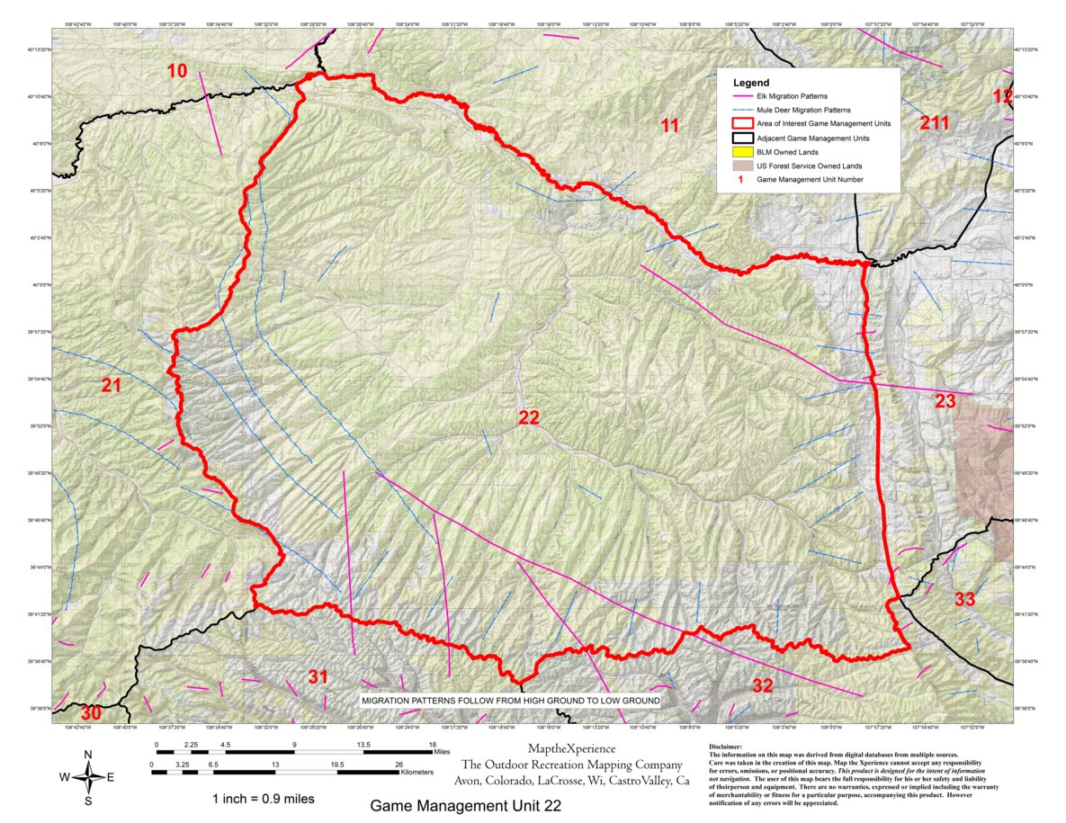 Colorado Big Game GMU Units 21,22,30,31,32 Hunting Map Bundle - Map ...