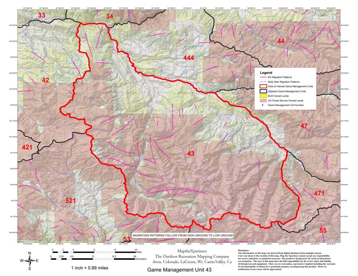 Colorado Big Game GMU 43, 47, 444, 471 Hunting Map Bundle - Map the ...
