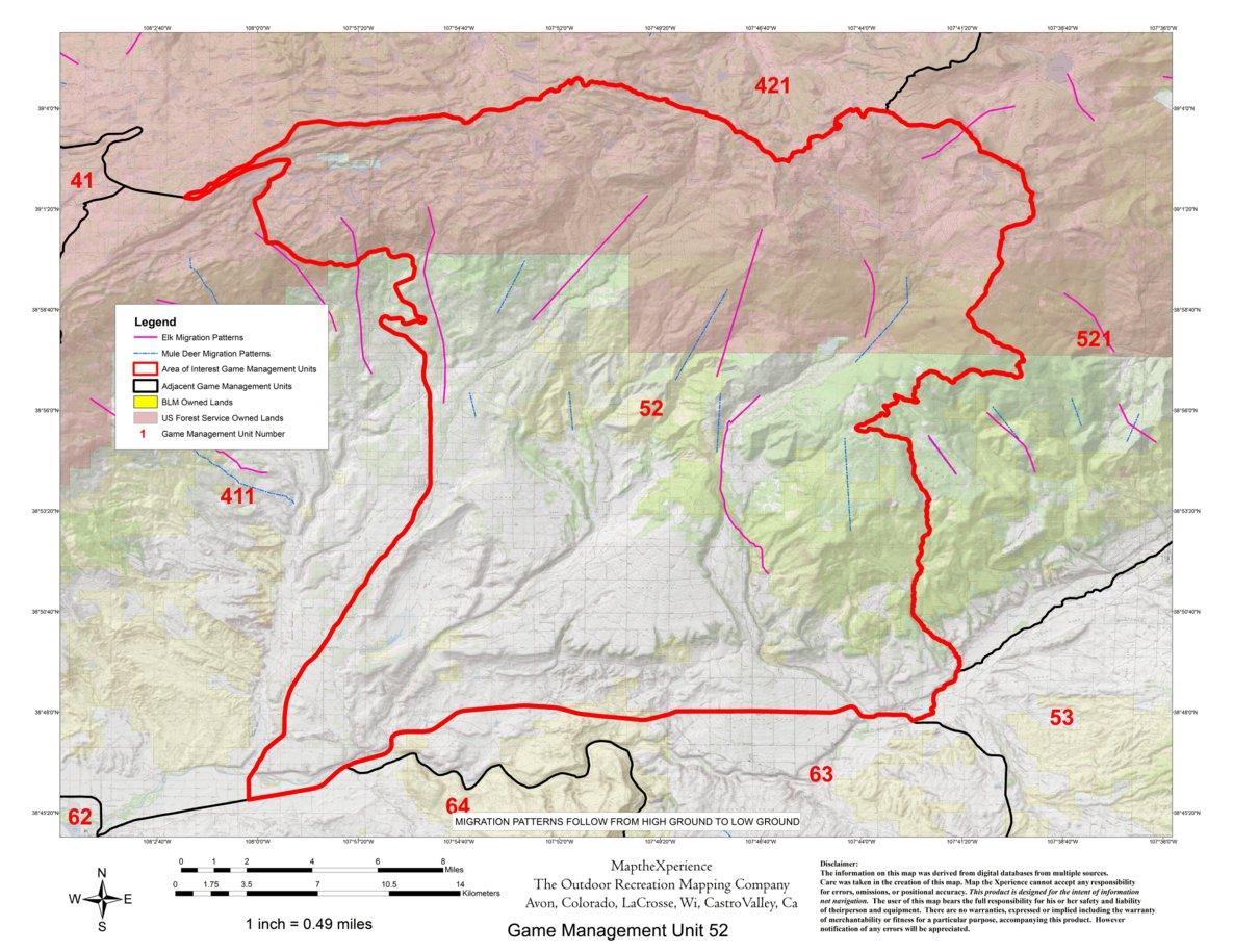 Colorado Big Game GMU 411, 52, 521 Hunting Map Bundle - Map the ...