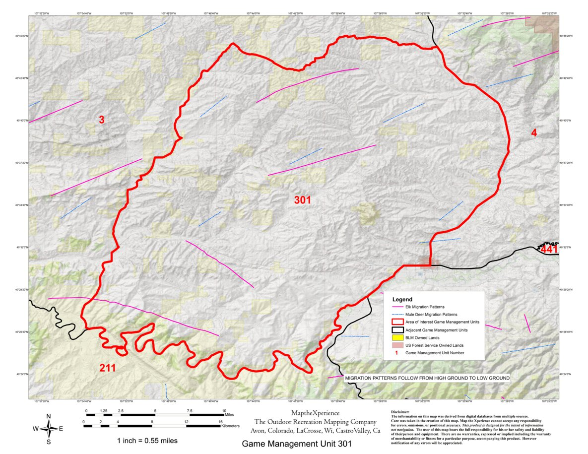 Colorado Big Game GMU Units 3, 11, 211, 301 Hunting Map Bundle - Map ...
