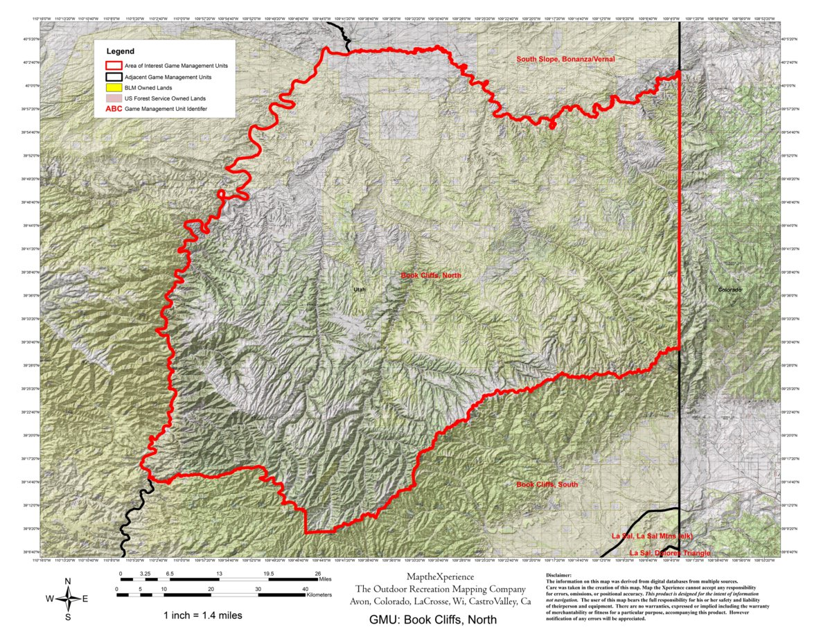 Utah DWR Hunt Map - Book Cliffs/North, Buck Deer - Map the Xperience Dwr Utah Maps on
