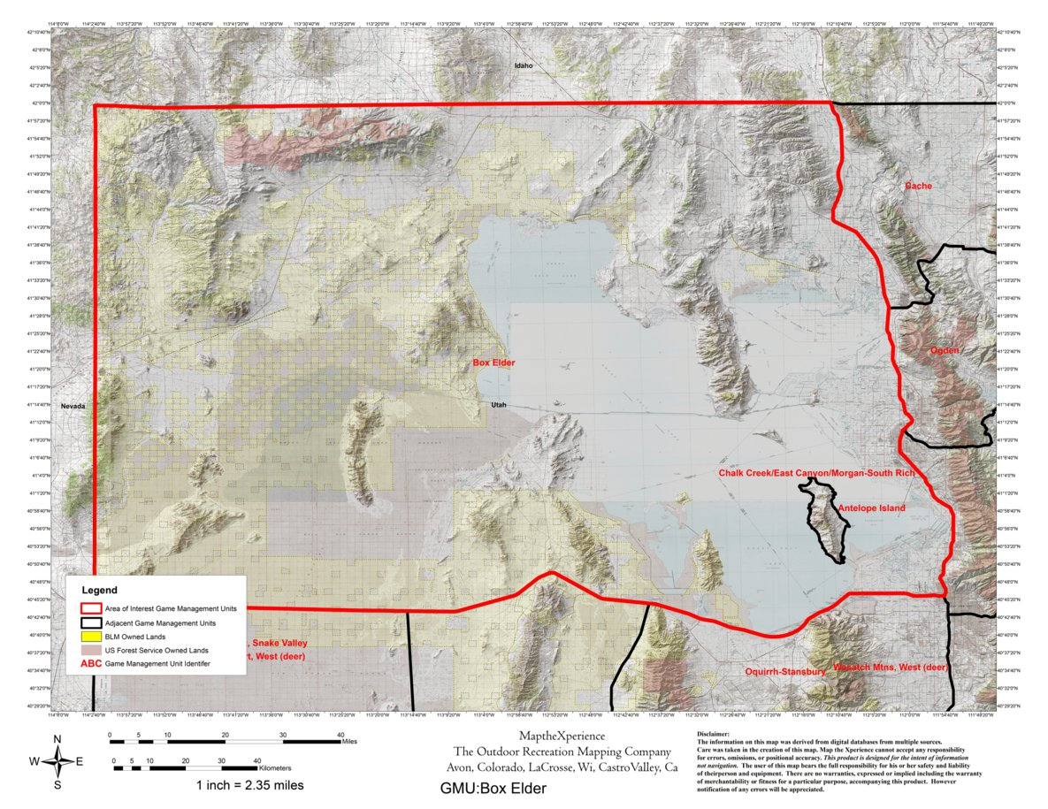 Utah DWR Hunt Map Box Elder Buck Deer Map the Xperience