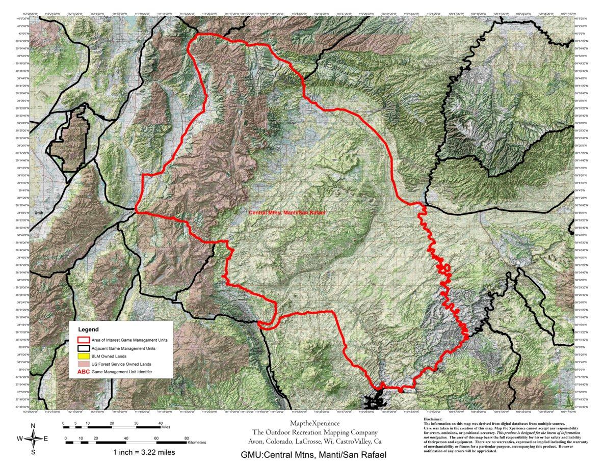 Utah Dwr Hunt Map Central Mountains Manti San Rafael Buck Deer