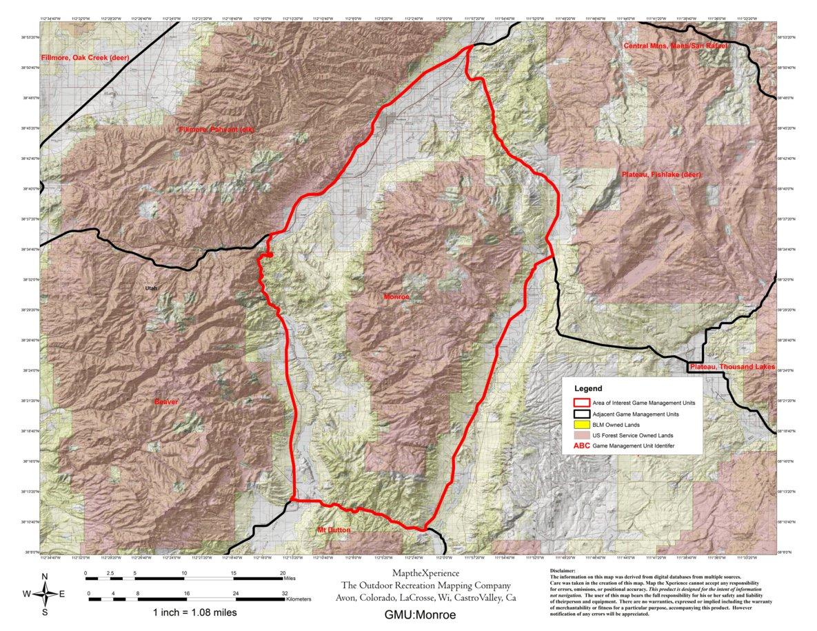 Utah Dwr Hunt Map Monroe Buck Deer Bull Elk Map The Xperience