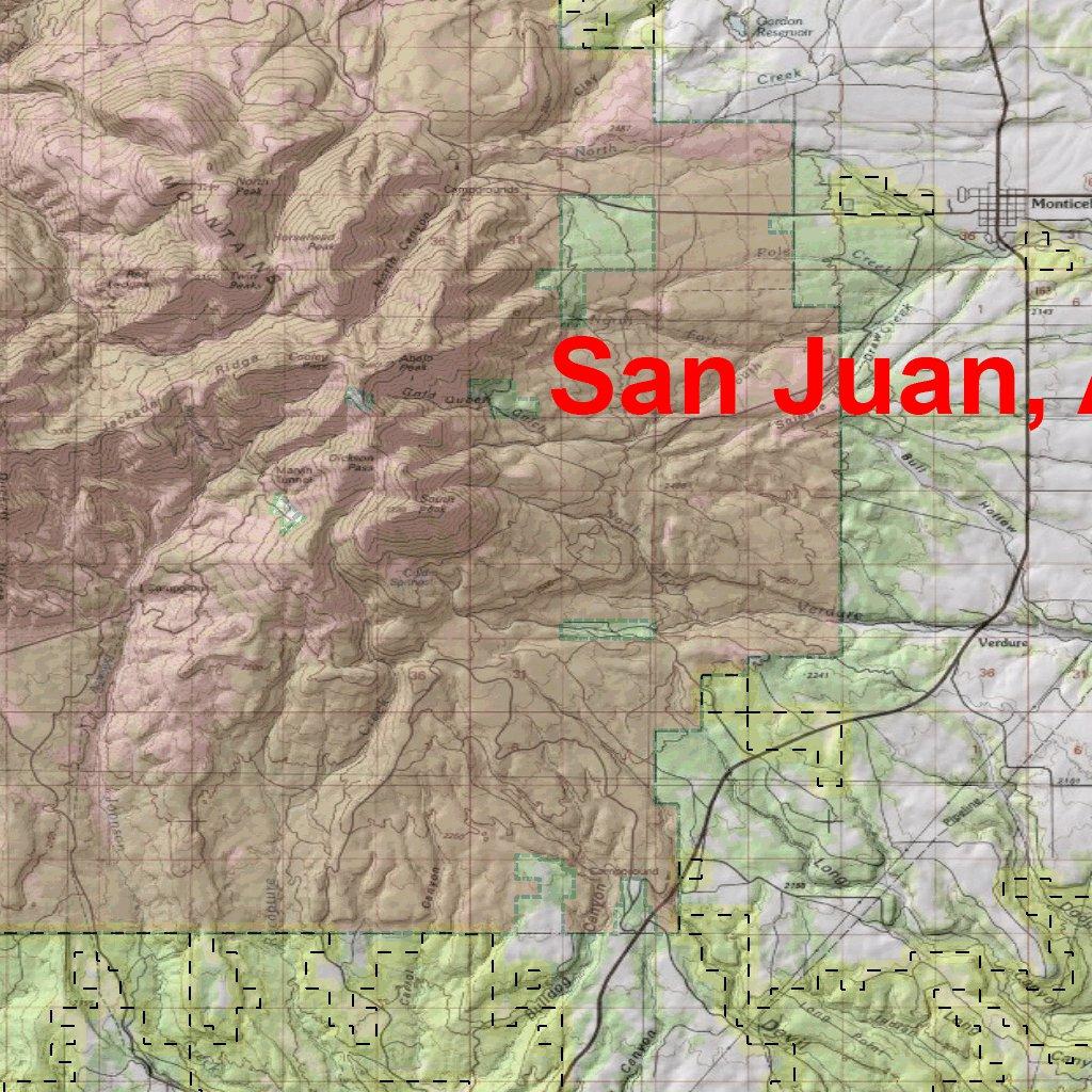 San Juan River Utah Map.Utah Dwr Hunt Map San Juan Abajo Mountains Buck Deer Map The