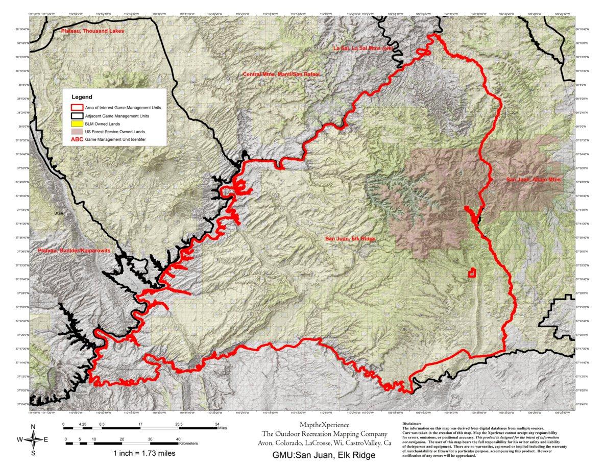 San Juan River Utah Map.Utah Dwr Hunt Map San Juan Elk Ridge Map The Xperience Avenza
