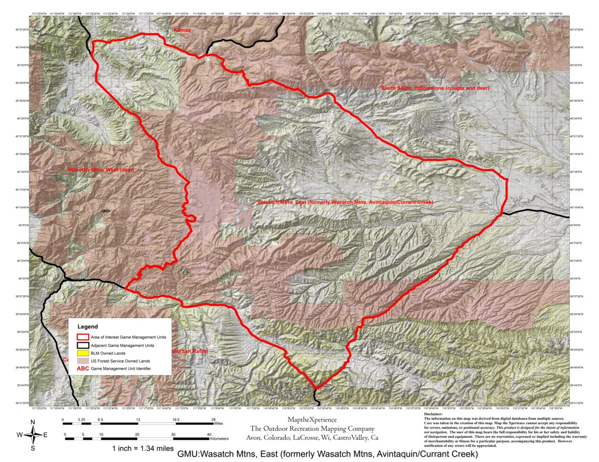 Utah DWR Hunt Map - Wasatch Mountains East, Buck Deer - Map the ...