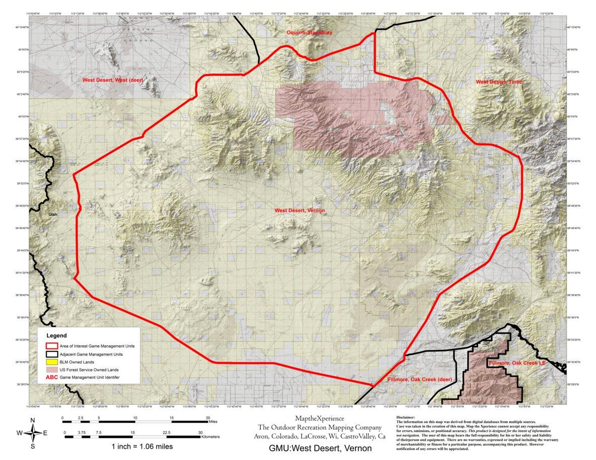 Utah Dwr Hunt Map West Desert Vernon Buck Deer Map The