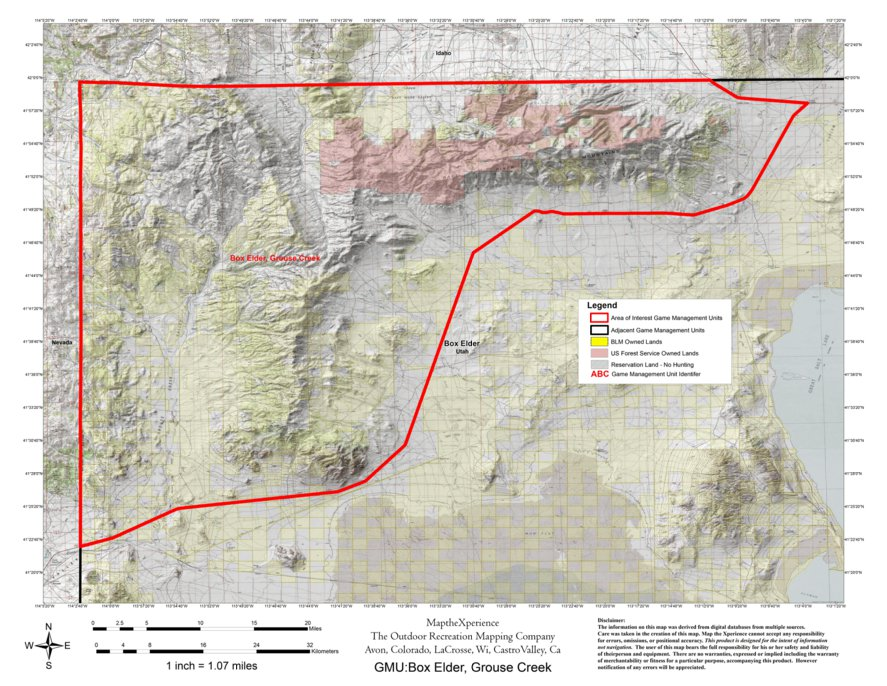 Utah DWR Hunt Map Box ElderGrouse Creek Bull Elk Map the