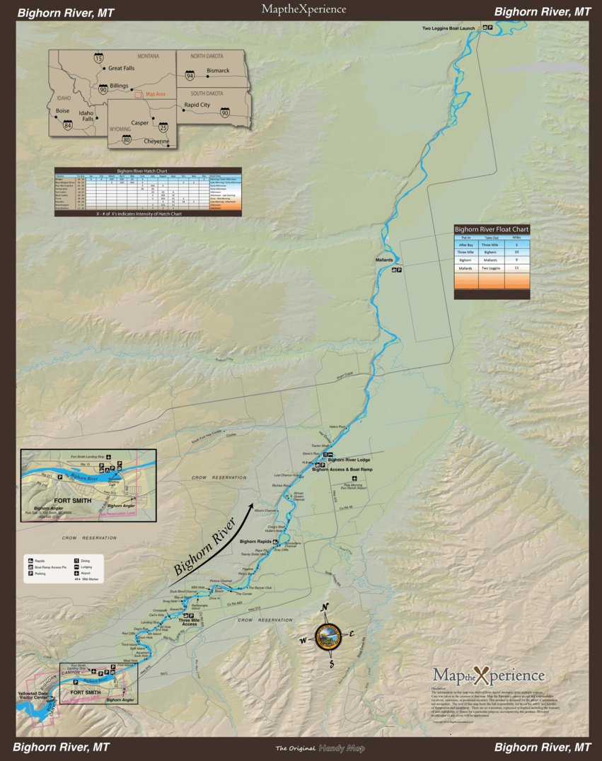 Big Horn River Fishing Map - Montana