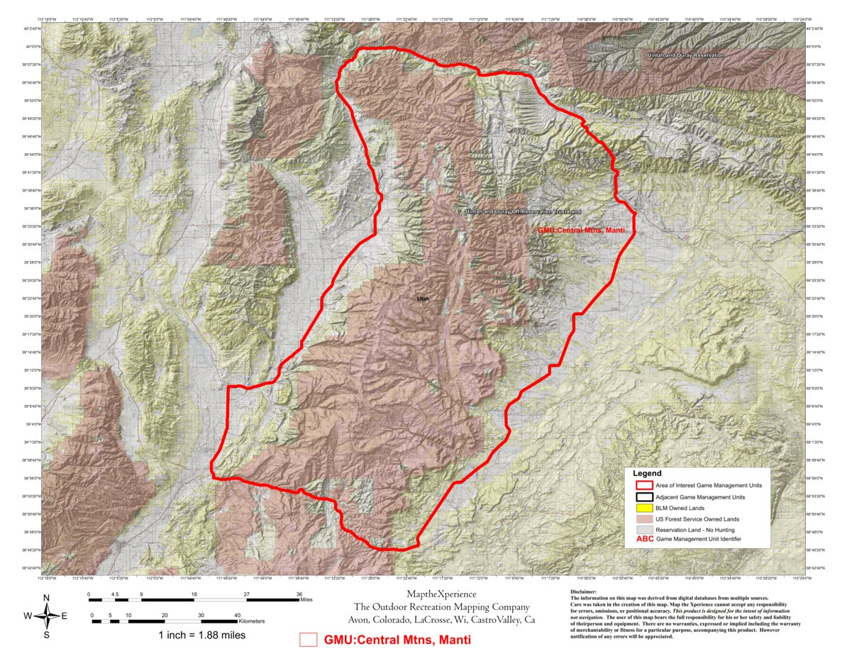 Utah Dwr Hunt Map Central Mtns Manti Map The Xperience Avenza Maps