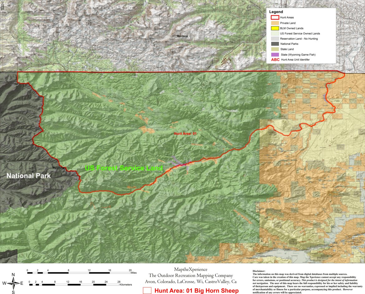 Wyoming Bighorn Sheep Hunt Area 1 - Map the Xperience - Avenza Maps