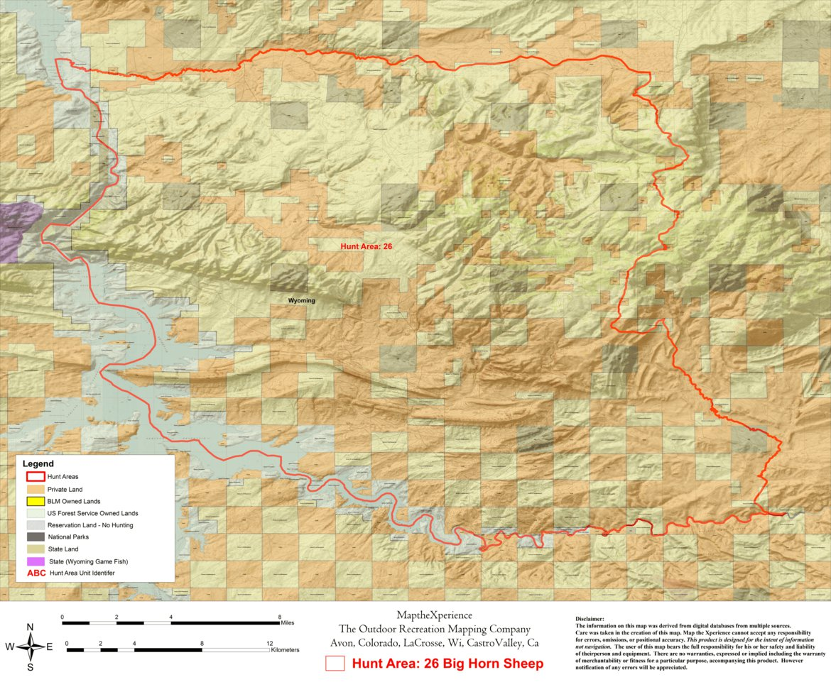 Wyoming Bighorn Sheep Hunt Area 26 - Map the Xperience - Avenza Maps