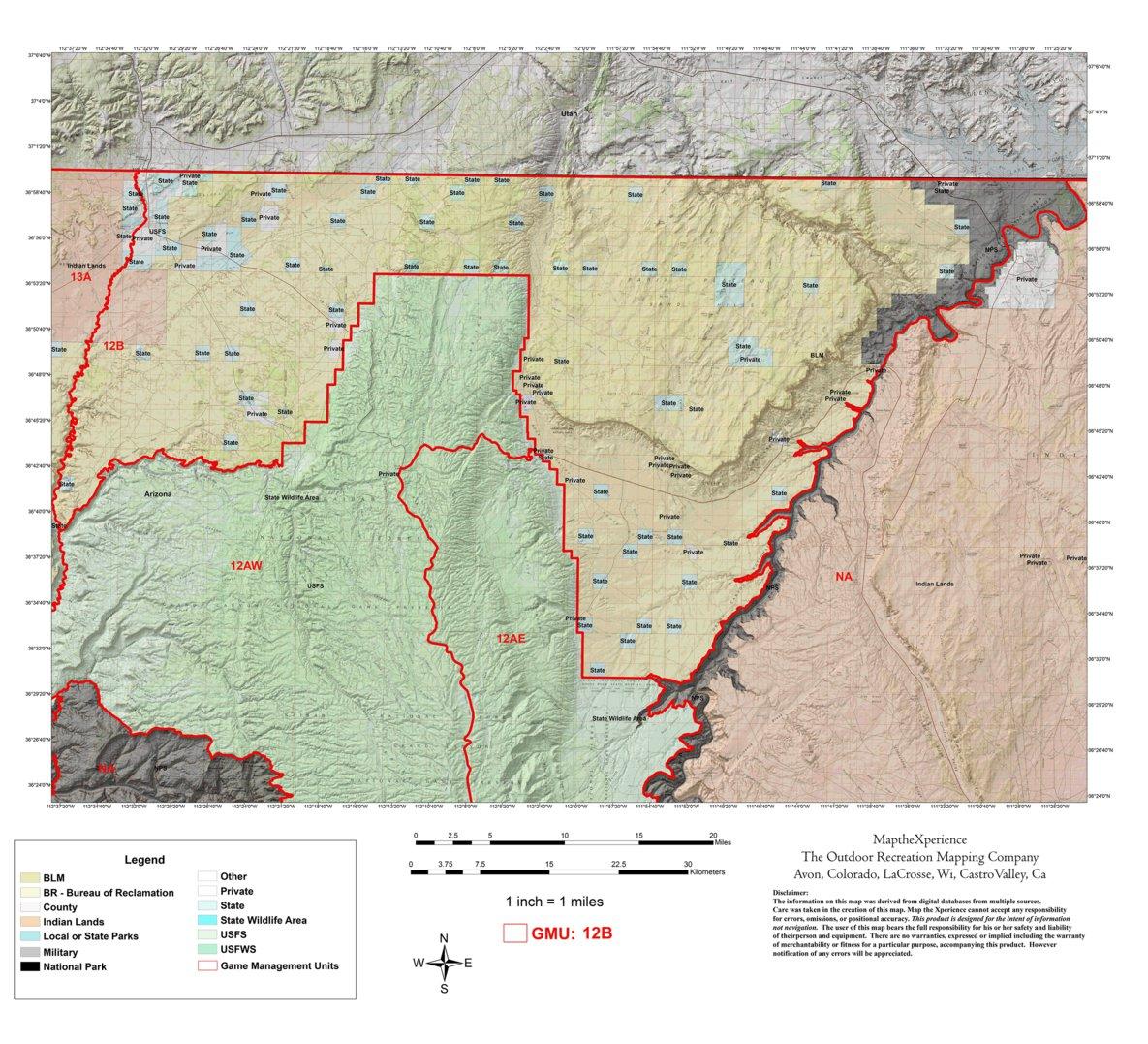 Map Of Unit 5a Arizona.Arizona Gmu 12b Hunting Map Map The Xperience Avenza Maps