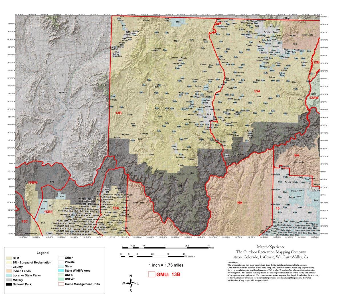Map Of Unit 5a Arizona.Arizona Gmu 13b Hunting Map Map The Xperience Avenza Maps
