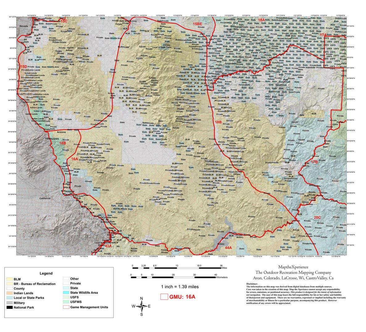 Map Of Arizona Kingman.Arizona Gmu 16a Hunting Map Map The Xperience Avenza Maps