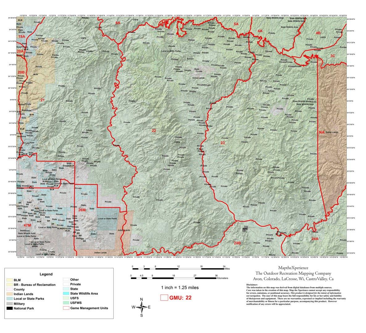 North Arizona Map.Arizona Gmu 22 Hunting Map Map The Xperience Avenza Maps