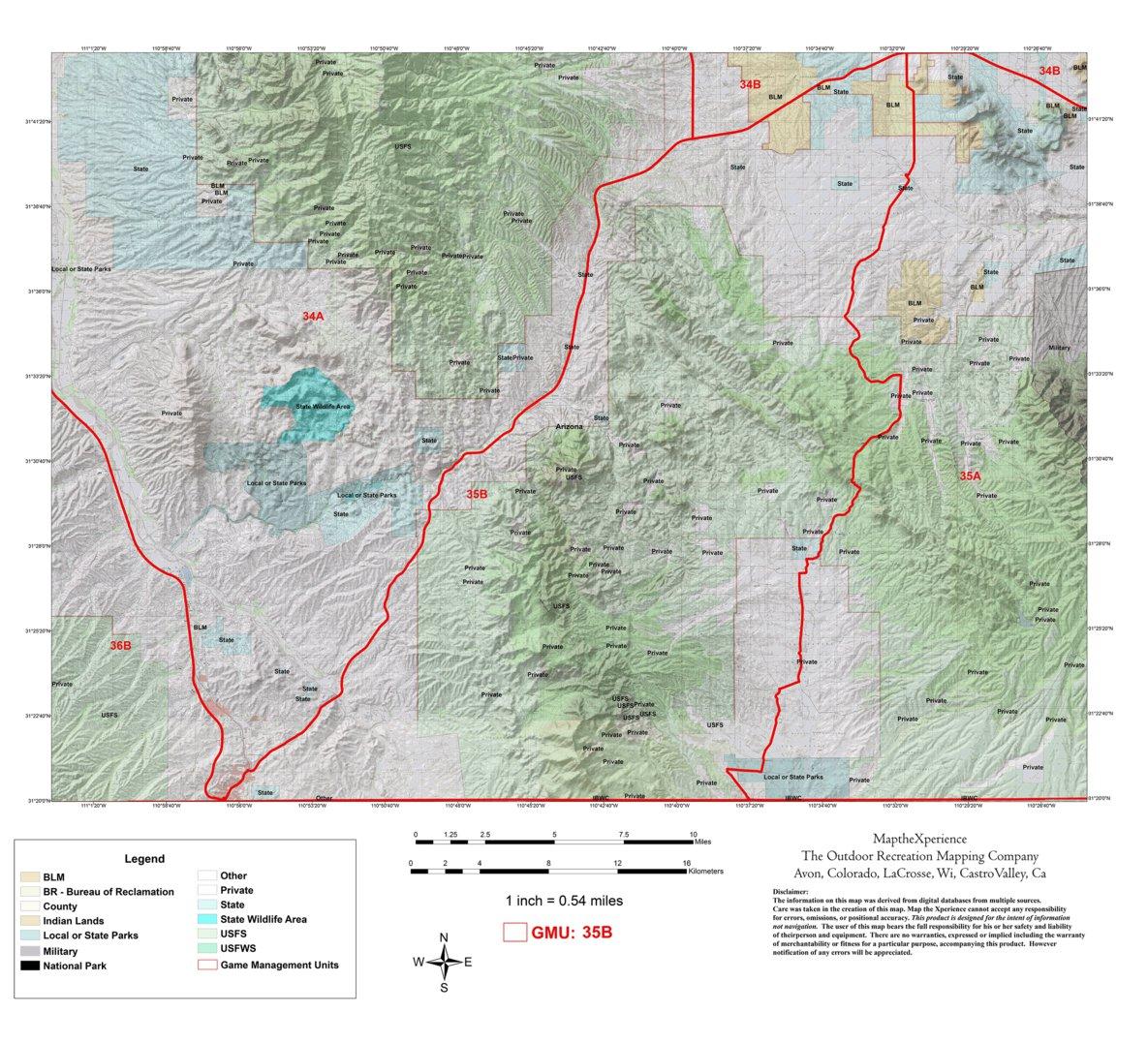Map Of Elgin Arizona.Arizona Gmu 35b Hunting Map Map The Xperience Avenza Maps