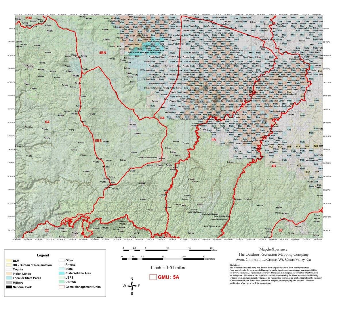 Map Of Unit 5a Arizona.Arizona Gmu 5a Hunting Map Map The Xperience Avenza Maps
