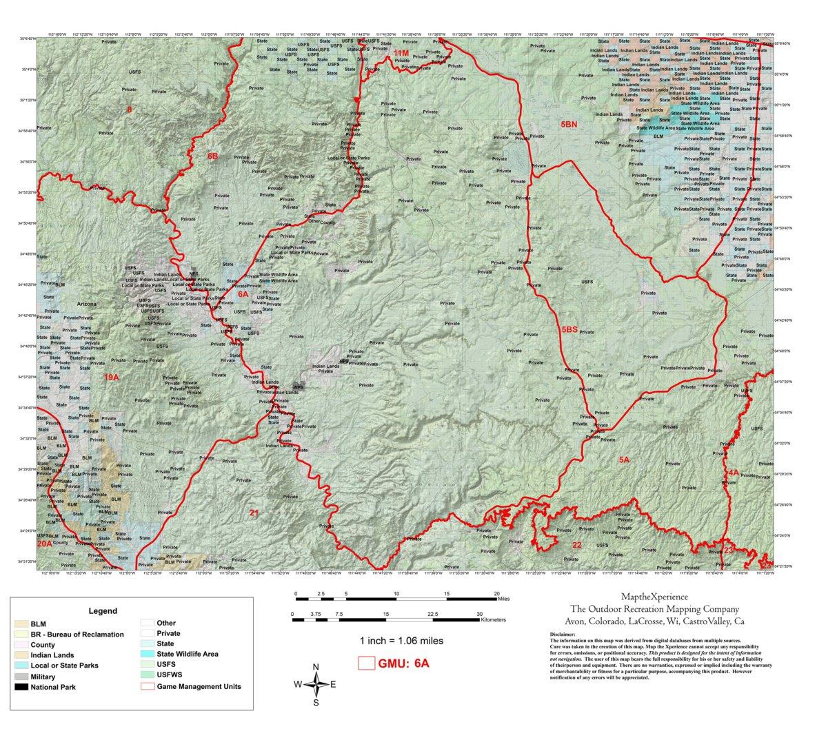 Unit 6a Arizona Map.Arizona Gmu 6a Hunting Map Map The Xperience Avenza Maps