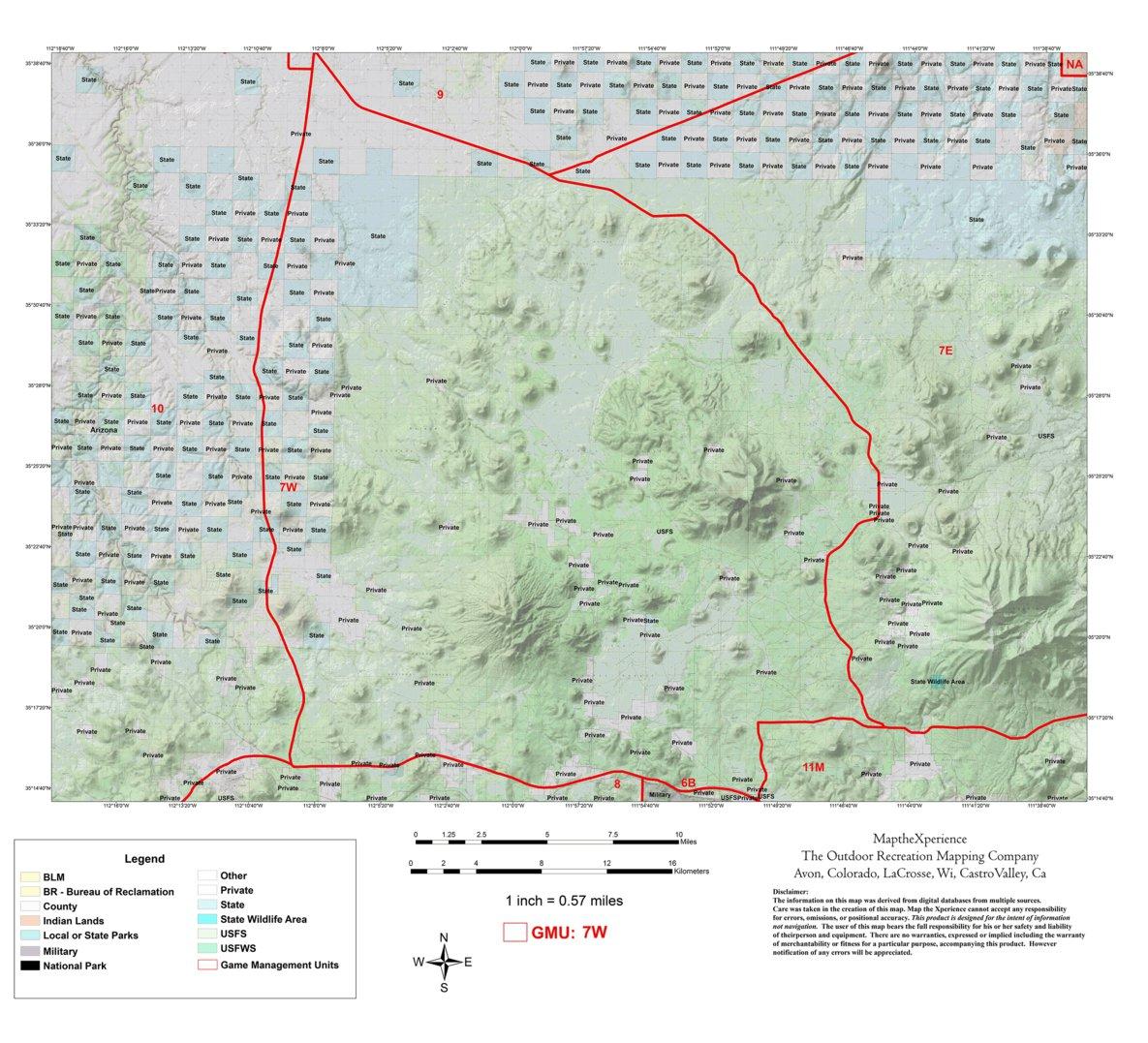 Public Hunting Land Wisconsin Map.Arizona Gmu 7w Hunting Map Map The Xperience Avenza Maps