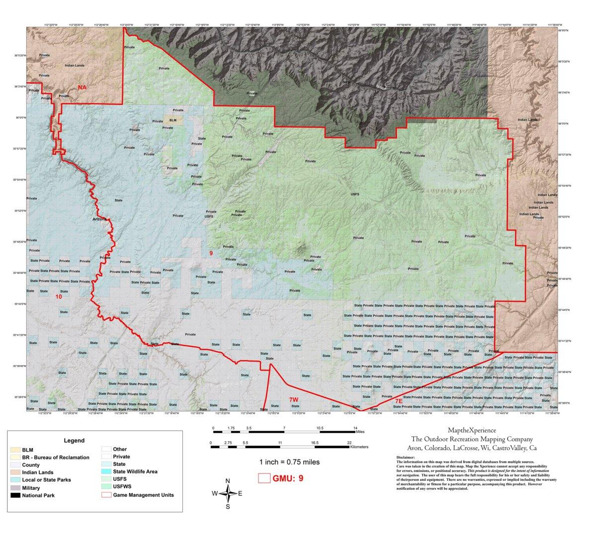 Unit 6a Arizona Map.Arizona Gmu 9 Hunting Map Map The Xperience Avenza Maps