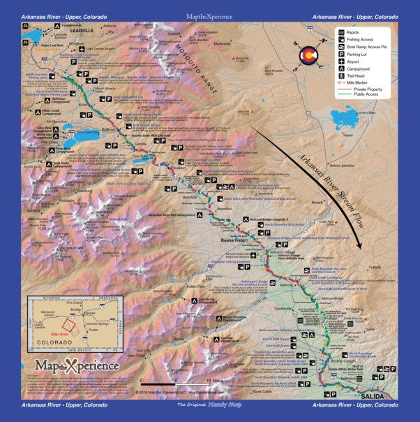 Arkansas River Colorado Fishing Map - Upper - Map the Xperience ...
