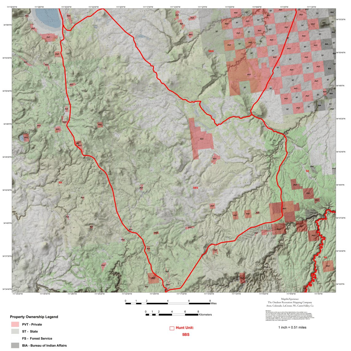 Unit 6a Arizona Map.Arizona Gmu 5bs Hunting Map Map The Xperience Avenza Maps