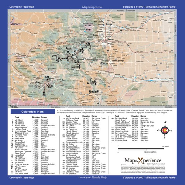 Colorado 14ers Map   Map the Xperience   Avenza Maps