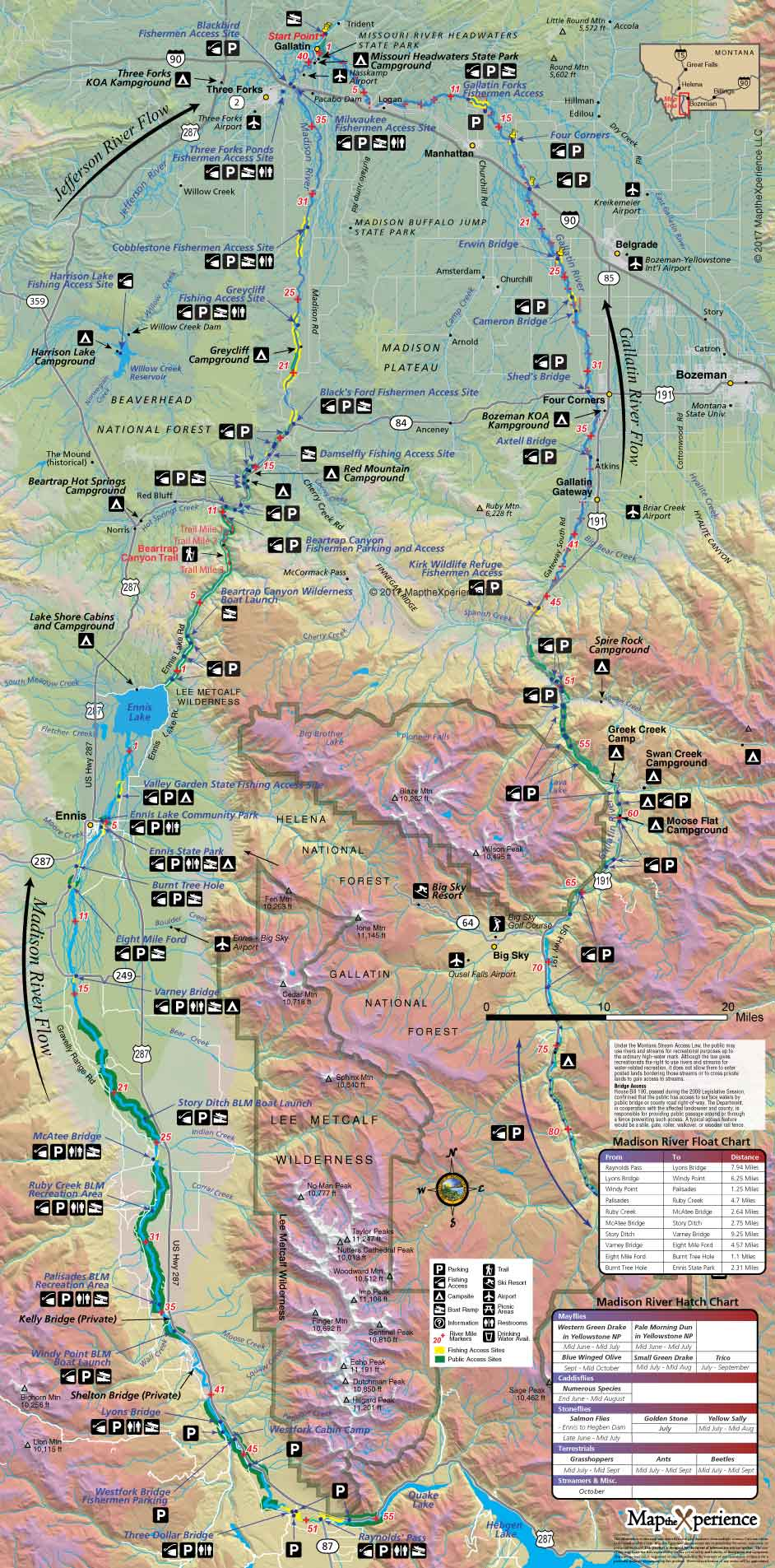 Madison River Montana Map.Madison River And Gallatin River Montana Fishing Map Map The