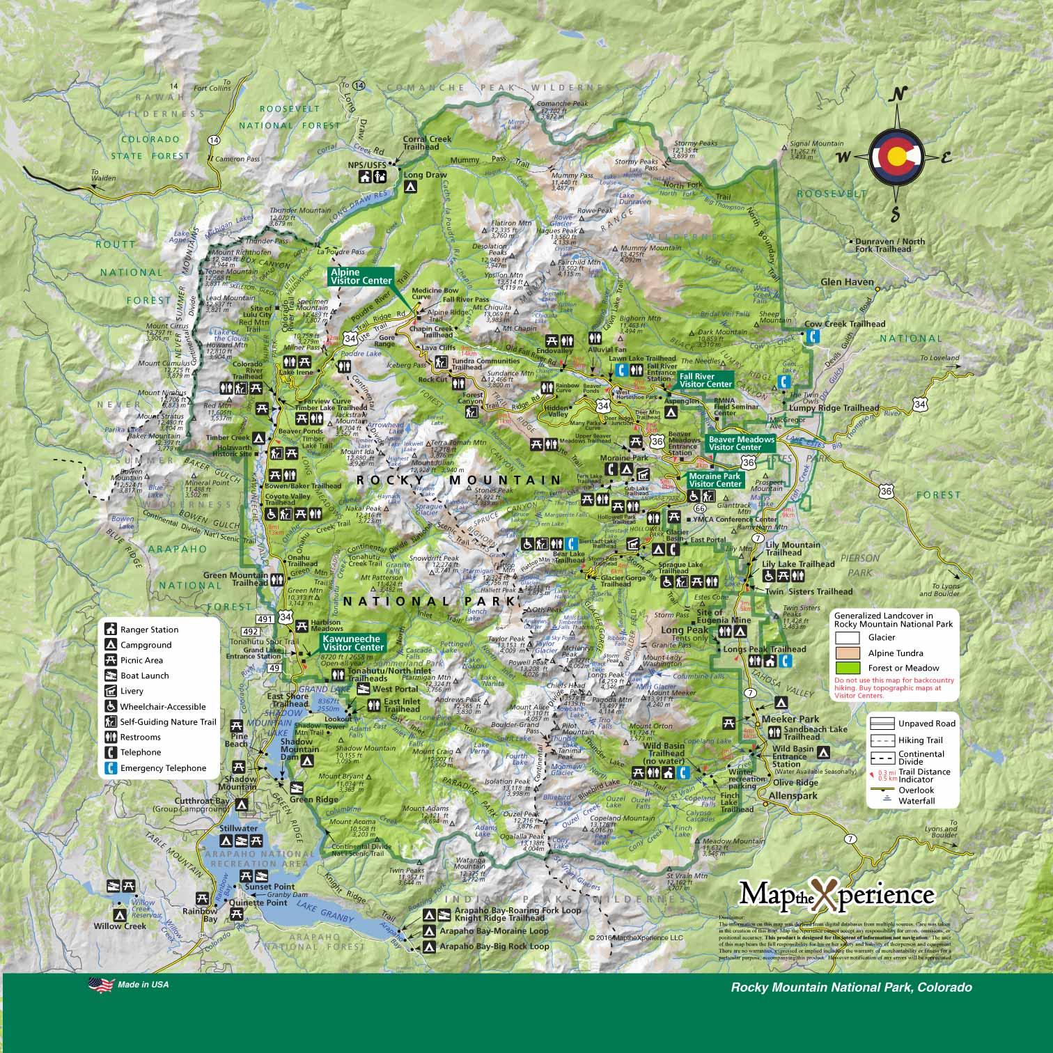 Rocky Mountain National Park Colorado Map - Map the Xperience ...