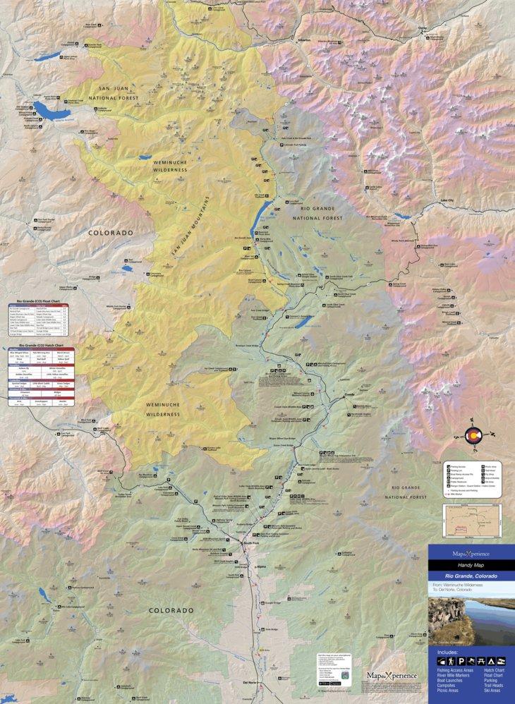 Rio Grande River Fishing Map - Colorado - Map the Xperience ...