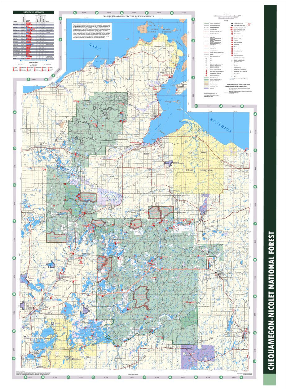 Chequamegon-Nicolet National Forest Visitor Map Washburn and Great on
